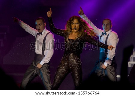 Kuala Lumpur, Malaysia, December 02, 2012: Puerto Rican actress, singer and dancer Jennifer Lopez performs during her Dance Again World Tour in Kuala Lumpur, Malaysia.  - stock photo