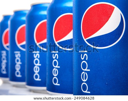 KUALA LUMPUR, MALAYSIA - FEBRUARY 2ND 2015. Cans of Pepsi drinks. Pepsi is a carbonated soft drink produced and manufactured by PepsiCo Inc. an American multinational food and beverage company.
