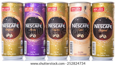KUALA LUMPUR, MALAYSIA - FEBRUARY 13TH 2015. Nescafe can drinks. Nescafe is an instant coffee brand made by Nestle, a Swiss multinational food and beverage company, first introduced on April 1, 1938.