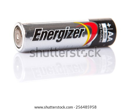 KUALA LUMPUR, MALAYSIA - FEBRUARY 27TH 2015. Used Energizer AA batteries. Energizer Holdings is an American manufacturer of batteries and are sold in over 165 countries worldwide. - stock photo
