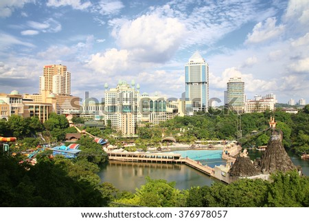 KUALA LUMPUR, MALAYSIA - FEBRUARY 12, 2016 : View of Sunway Lagoon theme park with Sunway Resort Hotel and Sunway Pyramid mall, built and owned by the Sunway group.