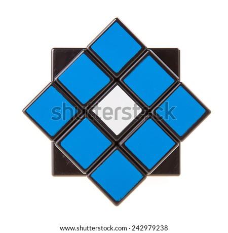 Kuala Lumpur, Malaysia - Jan 11, 2015:  Rubik's Cube on a white background. Rubik's Cube invented by a Hungarian architect Erno Rubik in 1974.  - stock photo