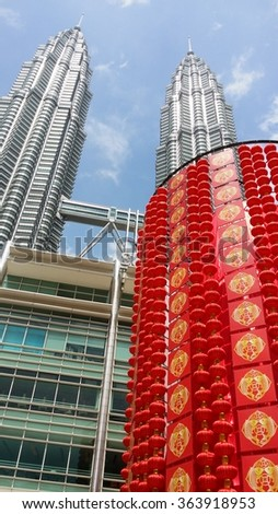 KUALA LUMPUR, MALAYSIA -  JANUARY 18, 2016: Chinese New Year lanterns are displayed at the Petronas Twin Towers, ahead of the Chinese New Year celebrations.