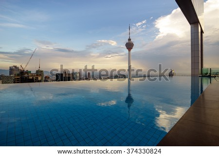 KUALA LUMPUR, MALAYSIA - JANUARY 23,2016 : Reflection of Kuala Lumpur Tower by the poolside in the evening.