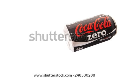 KUALA LUMPUR, MALAYSIA - JANUARY 31ST, 2015. Coca Cola Zero soft drink. Coca Cola drinks are produced and manufactured by The Coca-Cola Company, an American multinational beverage corporation.
