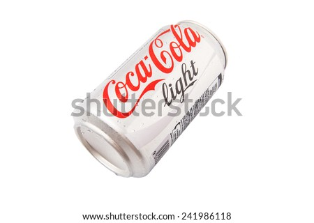 KUALA LUMPUR, MALAYSIA - JANUARY 6TH, 2015. A can of Coca Cola Light. Coca Cola Light or Diet Coke in some countries is a sugar-free soft drink produced and distributed by The Coca-Cola Company.