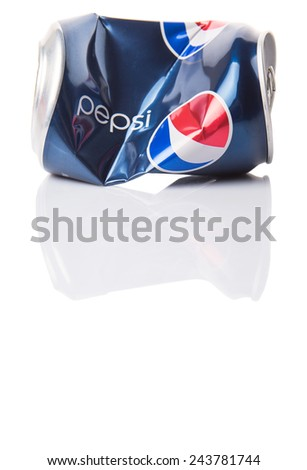 KUALA LUMPUR, MALAYSIA - JANUARY 13TH, 2015. Crumpled Pepsi can. Pepsi is a carbonated soft drink produced and manufactured by PepsiCo Inc. an American multinational food and beverage company.