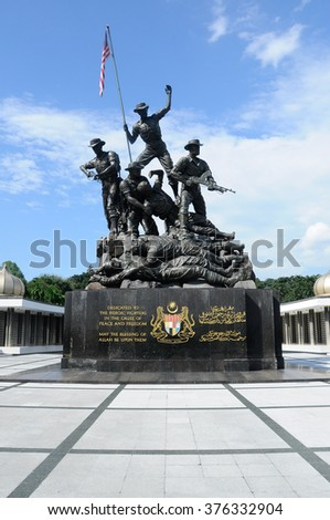 KUALA LUMPUR, MALAYSIA - JANUARY 10, 2015: Tugu Negara or National Monument is a monument to commemorate for those who died during World War II and the Malayan Emergency.
