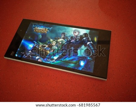 Kuala Lumpur, Malaysia, 10 July 2017: mobile legends game on mobile is loading.