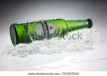 KUALA LUMPUR, MALAYSIA - July 2nd 2015,Heineken Lager Beer is the flagship product of Heineken International which owns over 125 breweries in more than 70 countries