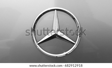 KUALA LUMPUR, MALAYSIA - JULY 21ST, 2017 : Close up image of Mercedes-Benz car logo. Mercedes-Benz is a global automobile manufacturer and a division of the German company Daimler AG.