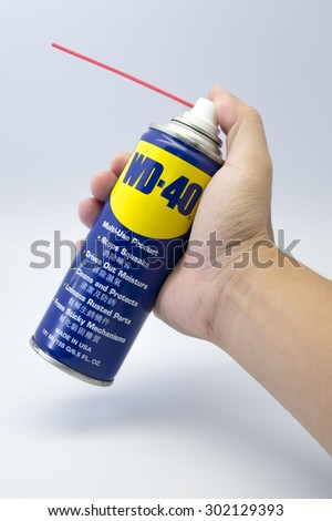 KUALA LUMPUR, MALAYSIA - JULY 31th 2015. WD-40 spray. WD-40 is the trademark name of a penetrating oil and water-displacing spray based in US.