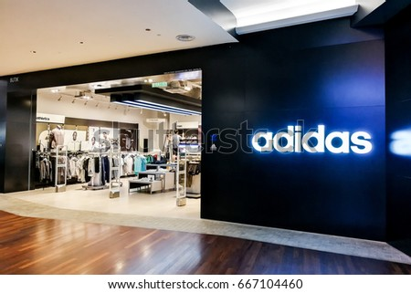 KUALA LUMPUR, Malaysia, June 26, 2017: Adidas AG is a German multinational corporation, headquartered in Herzogenaurach, Germany, that designs and manufactures shoes, clothing and accessories..