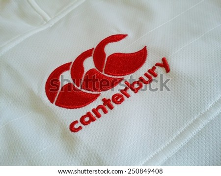 KUALA LUMPUR, MALAYSIA-JUNE 11, 2014: Close up view of England rugby jersey manufactured by Canterbury in Kuala Lumpur, Malaysia. Canterbury of New Zealand in a NZ-based sports clothing company. - stock photo