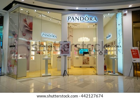 KUALA LUMPUR, MALAYSIA - June 23, 2016: Pandora store at Paradgm Mall. Pandora is a company that designs, manufactures and markets hand-finished and modern jewelry. It was founded at 1982.