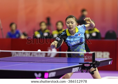 KUALA LUMPUR, MALAYSIA - MARCH 01, 2016: Ai Fukuhara of Japan plays a return shot in her match in the Perfect 2016 World Team Table-tennis Championships held in Kuala Lumpur, Malaysia.
