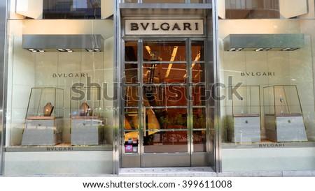KUALA LUMPUR, MALAYSIA - March 31, 2016. Bulgari exclusive store in center of Kuala Lumpur city. Bulgari is a Italy luxury jewelry company. Founded in Rome, Italy since 1884. - stock photo