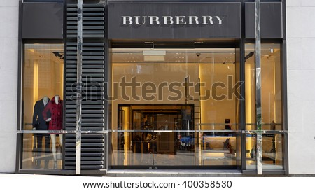 KUALA LUMPUR, MALAYSIA - March 31, 2016. Burberry exclusive store in center of Kuala Lumpur city. Burberry is a British luxury fashion company. Founded in Basingstoke, England since 1856. - stock photo