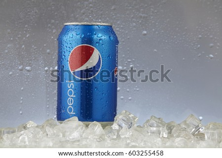 Kuala Lumpur, Malaysia ,march 14 2017,can of pepsi on the white background