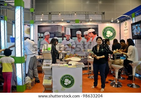 KUALA LUMPUR, MALAYSIA - MARCH 17: Cilantro Culinary Academy promote the exhibition during the Falcon Education Fair 2012 at Kuala Lumpur Convention Centre (KLCC) March 17, 2012 in Kuala Lumpur. - stock photo