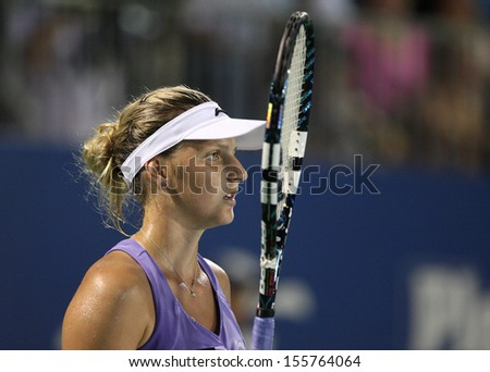 Kuala Lumpur, Malaysia, March 02 2013: Czech Karolina Pliskova gestures during the semi final match of the WTA Malaysian Open tennis tournament.