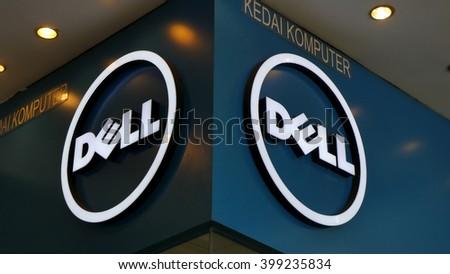 KUALA LUMPUR, MALAYSIA - March 31, 2016. Dell sign display on retail store on shopping mall inside Kuala Lumpur.