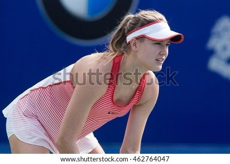 KUALA LUMPUR, MALAYSIA-MARCH 2:Eugenie Bouchard of Canada prepares to return a serve during Day 3 of BMW Malaysian Open on March 2, 2016 at KLGCC in Kuala Lumpur, Malaysia