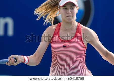 KUALA LUMPUR, MALAYSIA-MARCH 2:Eugenie Bouchard of Canada returns a ball during Day 3 of BMW Malaysian Open on March 2, 2016 at KLGCC in Kuala Lumpur, Malaysia