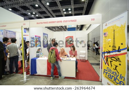 KUALA LUMPUR, MALAYSIA -MARCH 14: Exhibition during the Falcon Education Fair 2015 at Kuala Lumpur Convention Centre (KLCC) free and open to the public at Kuala Lumpur.