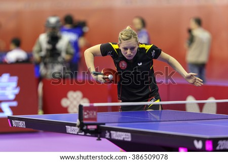KUALA LUMPUR, MALAYSIA - MARCH 01, 2016: Galia Dvorak of Spain plays return shot in her match in the Perfect 2016 World Team Table-tennis Championships held in Kuala Lumpur, Malaysia. - stock photo