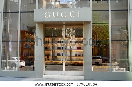 KUALA LUMPUR, MALAYSIA - March 31, 2016. Gucci exclusive store in center of Kuala Lumpur city. Gucci is a Italy luxury fashion company. Founded in Florence, Italy since 1921. - stock photo