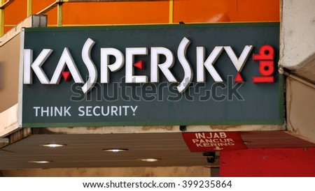 KUALA LUMPUR, MALAYSIA - March 31, 2016. Kaspersky sign display on wall in center of Kuala Lumpur. Kaspersky is a antivirus software, Founded in Moscow, Russia since 1997. - stock photo
