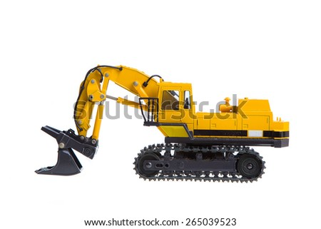 Kuala Lumpur, MALAYSIA - MARCH 30, 2015: Komatsu crawler excavator isolated on white background. A crawler excavator or digger is a vehicle designed to dig and move large objects