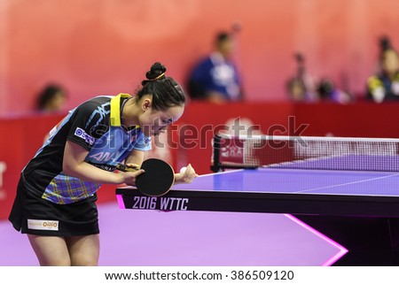 KUALA LUMPUR, MALAYSIA - MARCH 01, 2016: Mima Ito of Japan plays serves the ball in her match in the Perfect 2016 World Team Table-tennis Championships held in Kuala Lumpur, Malaysia.