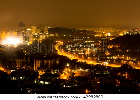 KUALA LUMPUR, MALAYSIA - MARCH 29: Panorama of Bangsar district on March 29, 2012 in Kuala Lumpur. KL was ranked 67th among global cities for economic and social innovation.