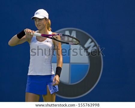 Kuala Lumpur, Malaysia, March 04, 2013: Petra Martic of Croatia  gestures during the WTA Malaysian Open tennis tournament. - stock photo