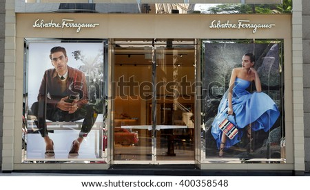 KUALA LUMPUR, MALAYSIA - March 31, 2016. Salvatore Ferragamo exclusive store in Kuala Lumpur. Salvatore Ferragamo is an Italian luxury goods company, headquarters in Florence. Founded since 1928. - stock photo