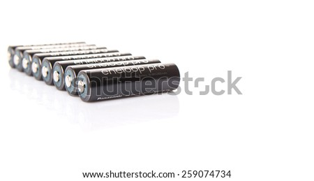 KUALA LUMPUR, MALAYSIA - MARCH 9TH 2015. Eneloop Pro rechargable AA battery. First developed and introduced by Sanyo in 2015, Eneloop was acquired by Panasonic in 2013.