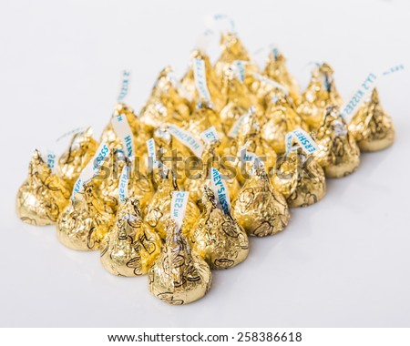 KUALA LUMPUR, MALAYSIA - MARCH 4TH 2015. First introduced in 1905, Hershey's Kisses is a brand of chocolate manufactured by The Hershey Company. Hershey's product are sold in over sixty countries.