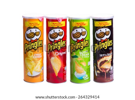KUALA LUMPUR, MALAYSIA - MARCH 28TH 2015. Owned by the Kellogg Company, Pringles is a brand of potato snack chips sold in 140 countries with yearly sales of more than US 1.4 billion dollars. - stock photo
