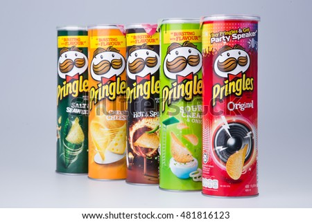 KUALA LUMPUR, MALAYSIA - MARCH 28TH 2015. Owned by the Kellogg Company, Pringles is a brand of potato snack chips sold in 140 countries with yearly sales of more than US 1.4 billion dollars.