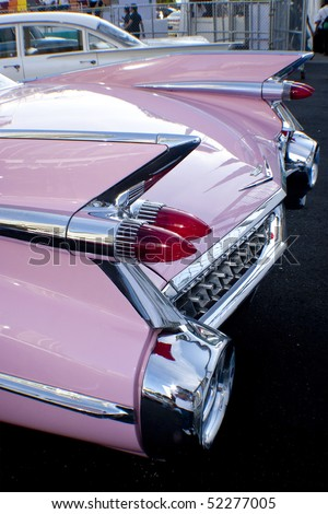 KUALA LUMPUR, MALAYSIA - MARCH 27 : The rear view of a Cadillac on display during the 8th KL Vintage and Classic Car Concourse at Petronas Pit Pulse KLCC March 27, 2010 in Kuala Lumpur, Malaysia. - stock photo