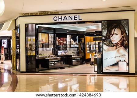 "KUALA LUMPUR, MALAYSIA, May 20, 2016: A CHANEL outlet at KLCC, Kuala Lumpur. CHANEL operates some 310 Chanel boutiques worldwide. ""Coco"" Chanel was founded in 1909 in Paris, France."