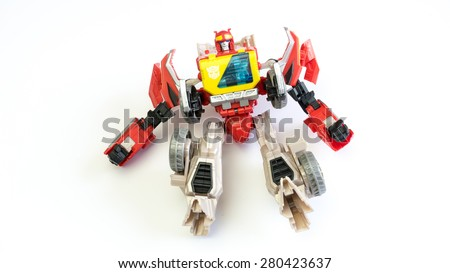 Kuala Lumpur, Malaysia - May 23, 2015: A studio shot of Autobot Blaster figure. Blaster is fictional characters in the Transformers television and comic series produced by Takara Tomy and Hasbro.