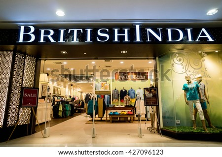 KUALA LUMPUR, MALAYSIA - MAY 27, 2016: British India retail at Sunway Pyramid Mall. Established in 1994, BritishIndia is a homegrown lifestyle brand that currently has over 40 outlets across Asia