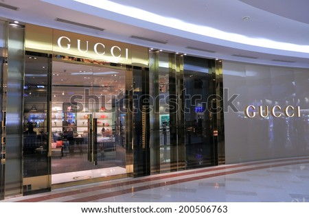 KUALA LUMPUR MALAYSIA - 25 May, 2014:GUCCI shop at SURIA KLCC.GUCCI is an Italian fashion and leather goods brand founded by Guccio Gucci in 1921.