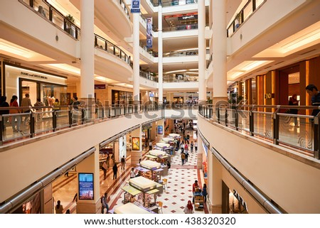 KUALA LUMPUR, MALAYSIA - MAY 09, 2016: inside of Suria KLCC. Suria KLCC is located in the Kuala Lumpur City Centre district. It is in the vicinity of the landmark the Petronas Towers. - stock photo