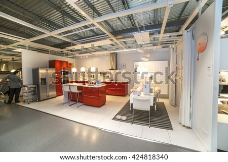 "KUALA LUMPUR, MALAYSIA - MAY 22, 2016 :Interior furniture store ""Ikea"" in Malaysia. Founded in Sweden in 1943, Ikea is the world's largest furniture retailer."