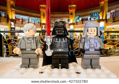 KUALA LUMPUR, MALAYSIA - MAY 27, 2016: Lego Star Wars figure at Sunway Pyramid. The Lego figure was build by Lego Fans of Malaysia group during Feel the Force promotion.