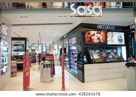 KUALA LUMPUR, MALAYSIA - MAY 09, 2016: Sasa store in Suria KLCC. Sa Sa International Holdings selling cosmetics, personal care, skin care and baby care products, often at discounted prices - stock photo